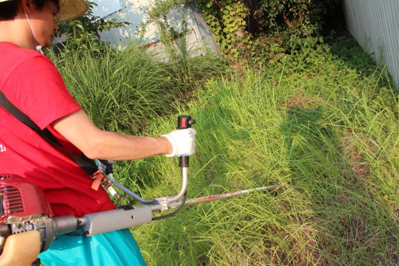 ナイロンコードで草刈り